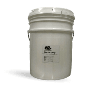 5 gallon bulk pail filled with Wisconsin natural maple syrup. Produced by Little Man Syrup LLC