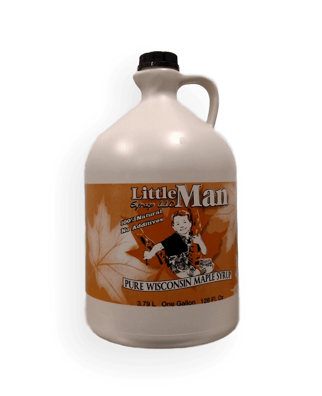 Plastic jug filled with Wisconsin natural maple syrup. Produced by Little Man Syrup LLC