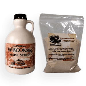 Plastic bottle filled with Wisconsin's natural maple syrup and one pound of maple sugar. Produced by Little Man Syrup LLC