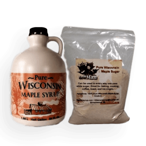 Plastic jug filled with Wisconsin natural maple syrup and one pound of maple sugar. Produced by Little Man Syrup LLC