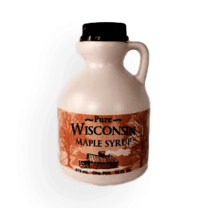 Plastic bottle filled with Wisconsin natural maple syrup. Produced by Little Man Syrup LLC