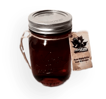 Glass bottle filled with Wisconsin natural maple syrup. Produced by Little Man Syrup LLC